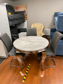 12. Chrome and grey marble table and 4 grey leather chairs