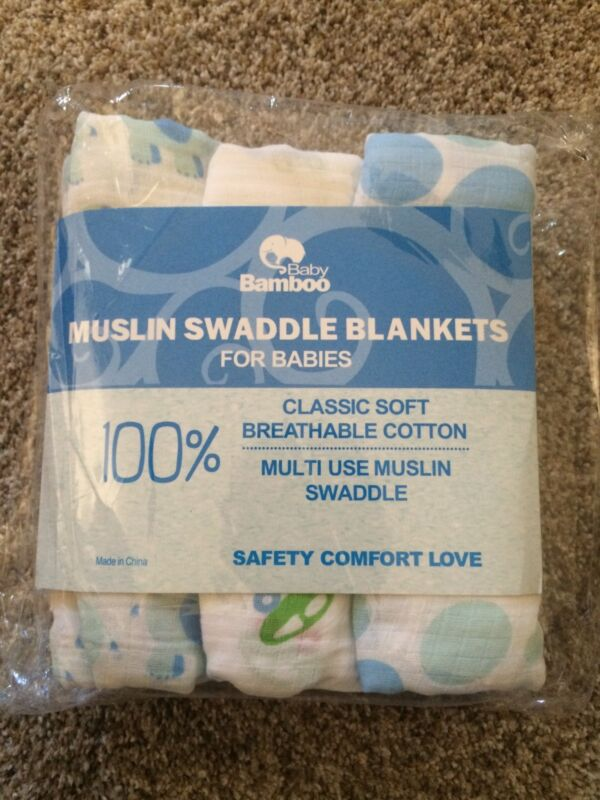 """New - Premium Muslin Cotton Swaddle Blankets -3 pack Large 47"""" x 47"""""""