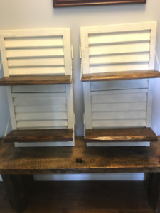 2 Repurposed Antique Shutters with Barn Board Shelves