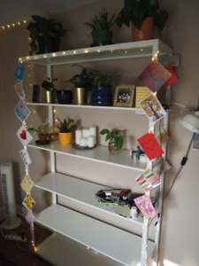 IKEA white metal FJALKINGE shelving unit (six shelves)