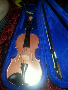 shimmery pink violin with case, bow, extra strings and resin