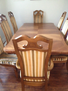 Beautiful Luxury Dining Set with 8 Cozy Chairs and Wood Table