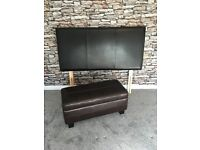 Dark Brown Faux Leather Headboard and Ottoman