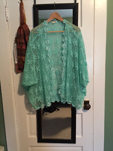 Turquoise Lace Cover/Shawl