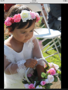 Wedding flower girl basket and headband- pink
