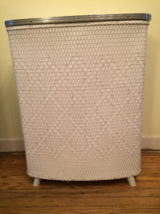 Vintage Mid-Century Laundry Hamper -- Woven Wood, Formica, Metal