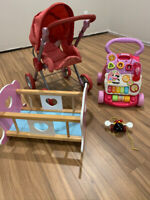 Kids toys: stroller, Pull bee, solid wood toy cot & walker