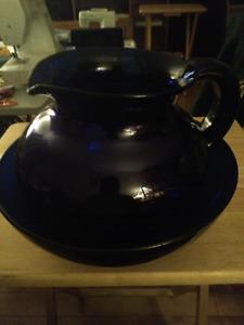 Vintage Glass Cobalt Blue Bowl And Pitcher Set