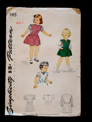 1940's Vintage SIMPLICITY #1415 GIRLS Jumper DRESS & BLOUSE Fashion PATTERN Sz4