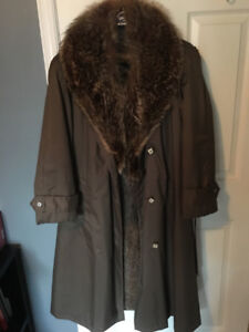 Women's real fur-lined coat with raccoon and beaver