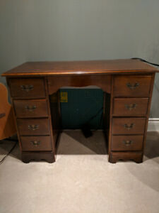Antique solid wood desk with two banks of drawers