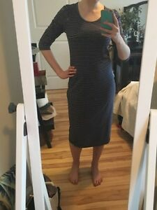 Striped mid-length dress