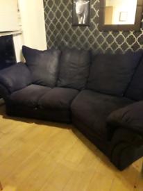 Harvey's black suede fabric cuddle corner sofa in excellent condition