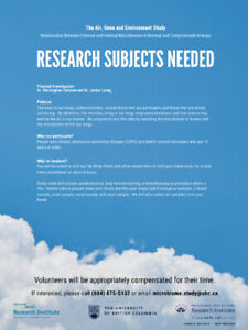 UBC RESEARCH SUBJECTS NEEDED for STUDIES - compensation provided