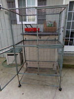 Deluxe Double Decker All Metal Pet Cage, Movable, on Wheels