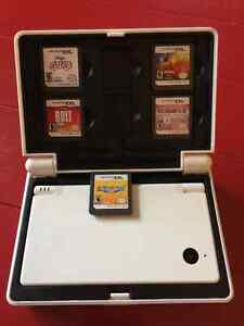 White Nintendo DSI with 5 games and hard case