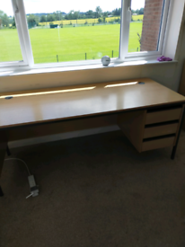Solid, heavy home office desk with drawers