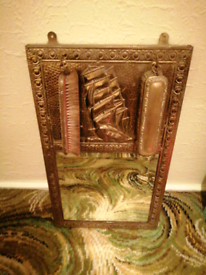 Vintage hall clothes brush mirror