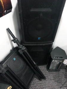 Yorkville M810 PA system w/2 speakers, monitor, stands + cords