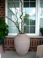 Terra Cotta Vase:Very Heavy:Curly Branches Included:LikeNEW