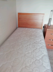 Bedroom furniture, single bed and furniture.