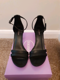 Graceland black strappy shoes size 6
