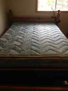 Double bed wooden box spring and Mattress
