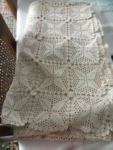 Handmade Crochet Table Cloth - 80""