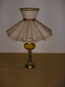 Old 1950's Beautiful Lamp with Large Vintage Ruffle and Bow Lamp