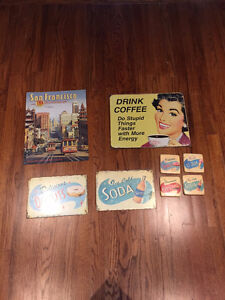 Vintage Style Tin Signs/Coasters
