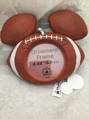 Disney World Football Mickey Ears Photo Holder Ornament NWT