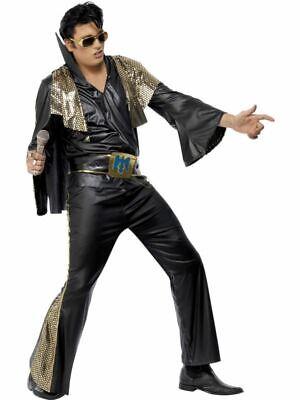 Adult Elvis Presley Costume Black And Gold 50S Fancy Dress Costume Mens Large