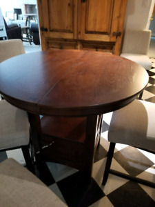 Wood round bar height table and chairs