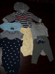 3 MONTH BABY CLOTHES, HOODIE DIAPER TOP OUTFITS 7PCS Peterborough Peterborough Area image 1