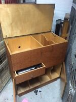LP record cabinet with spot for turntable