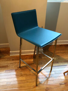 ** BEAUTIFUL CB2 Bar Stools Teal + Polished Steel SET OF TWO**