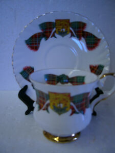 VINTAGE FOOTED NEW BRUNSWICK TARTAN CUP & SAUCER