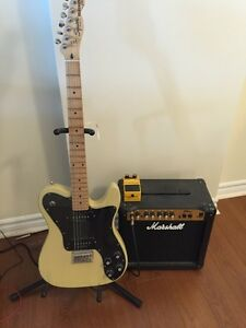 Squier by Fender telecaster w/ peddle and Marshall amp