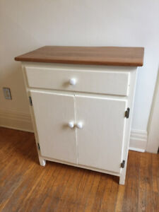 Vintage Pine Top Kitchen Cabinet With Drawer and Shelves