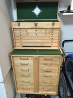 Tool chest roller - solid maple wood. Lined drawers