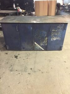 HEAVY DUTY WORK TABLE WITH DOORS AND SHELVES!