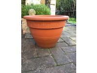 Large heavy terracotta garden planter