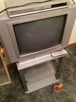 TV stand, TV and DVD player