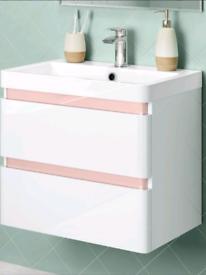 Like NEW wall hung modern vanity bathroom basin & storage