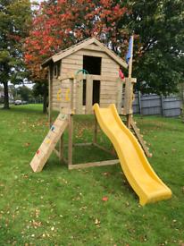 Kids mini playhouse on platform climbing frame slide
