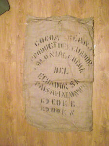 Large Burlap Bag COCOA BEANS Product of Ecuador