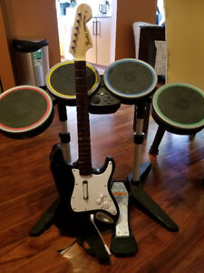 Rockband PS3 Drumset, Guitar, and Mic
