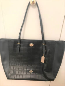 Brand new large sized Coach tote hand bag, leather, navy blue