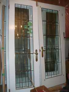 French beveled-leaded glass doors