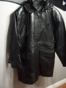 Brand New Mens Pellitalia Leather Hooded Jacket, Size: 3XL